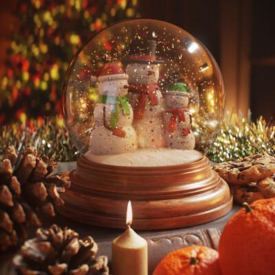 winter, new year, snowman, snowball, globe