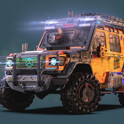Transport & Vehicles, Cyberpunk 2077, mercedesbenz, hardsurfaces, automotive, gameart, ROMANZHURAVLYOV, Gelendwagen