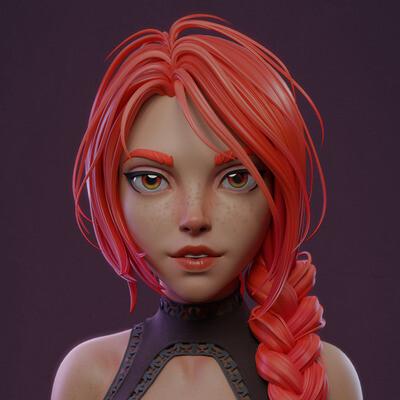 3d character, 3d modeling, blender, girl, 3d bust, charcter modeling