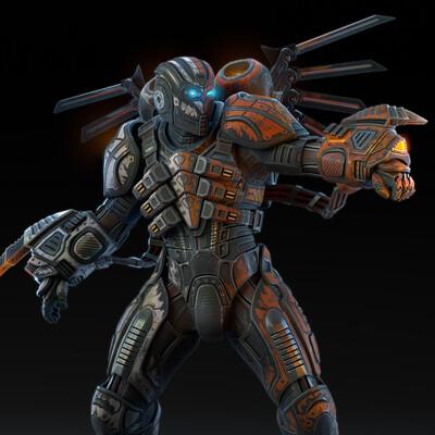броня, силовой доспех, штурмовик, клинки, Пушка, плазма, экзоскелет, космический шлем, прыжковый ранец