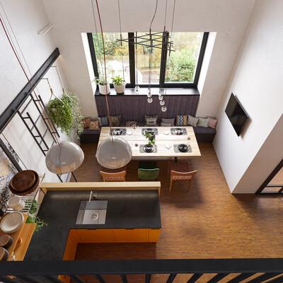 Кухня;, светлая кухня, двухуровневый, скандинавский стиль, современный стиль, 3D Studio Max, Corona Renderer
