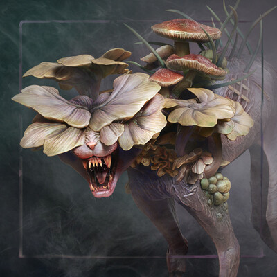 Creatures, Animals & Wildlife, Character Modeling, Fantasy, horror, infected, absorption, cat, mushroom, skinny