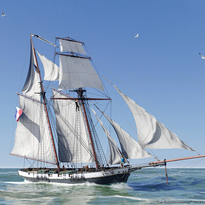 корабль, парус, парусник, шхуна, blender, substance painter, океан, море, капитан, ship